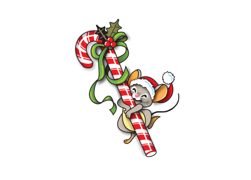 Christmas mouse holding candy cane